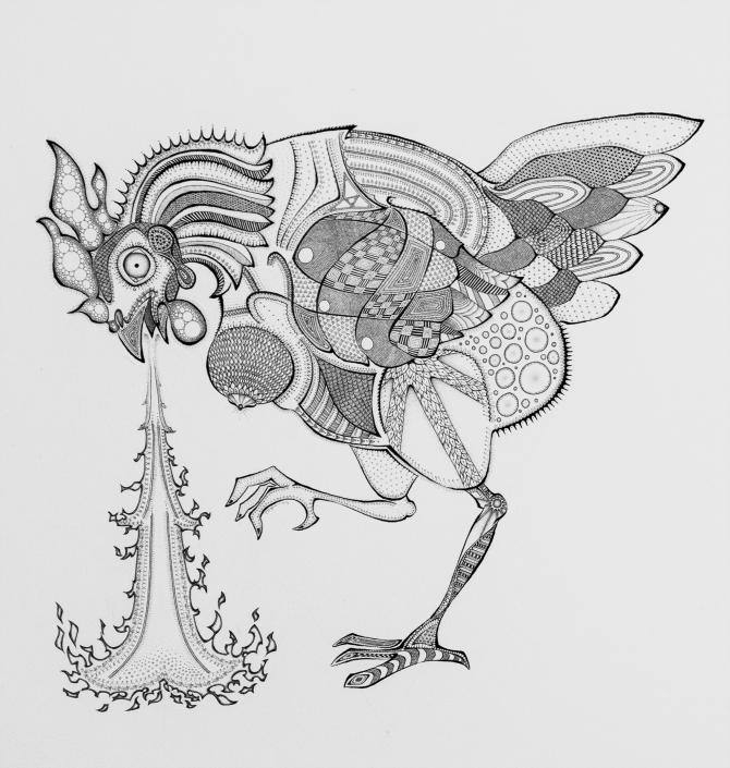 Basan, the fire breathing chicken by Floyd van den Wijngaard