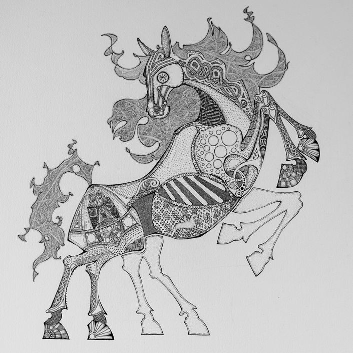 Sleipnir, the eight-legged horse ridden by Odin. Ink drawing by Floyd van den Wijngaard