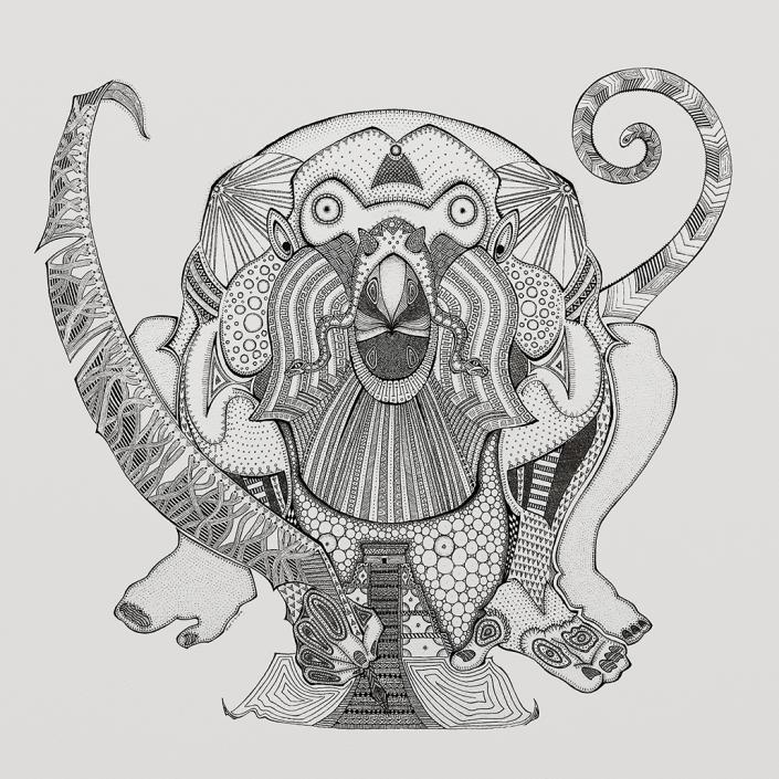 Hun-Batz, the howler monkey god. Ink illustration by Floyd van den Wijngaard